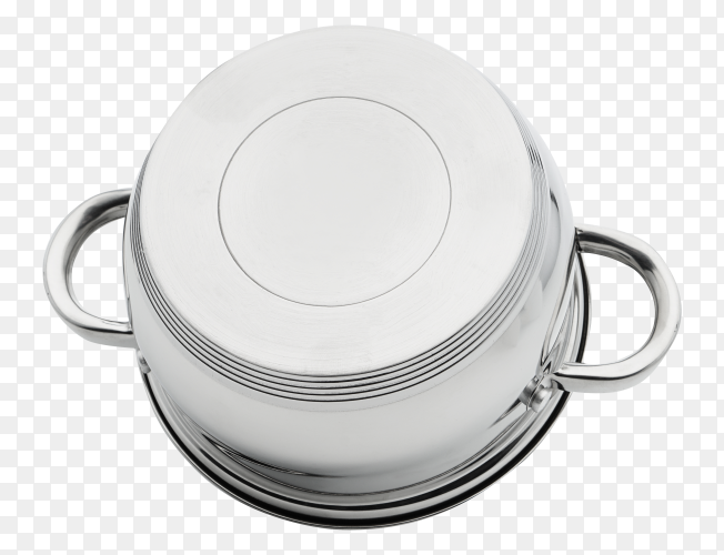 Chrome-plated silver iron pan turned upside down PNG