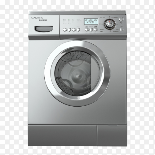 Closed gray washing machine PNG