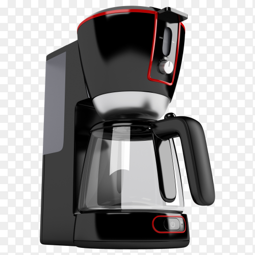 Cofee machine with red contour PNG