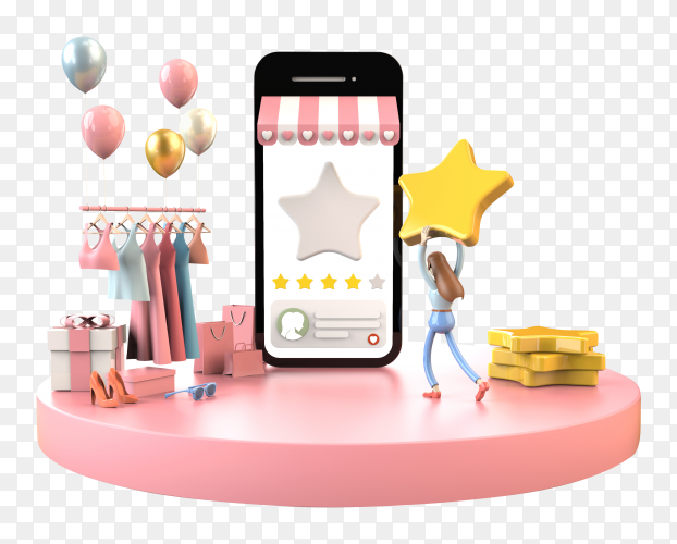 Customer female happy to giving five stars feedback satisfaction for favorite store shopping online on mobile – download PNG