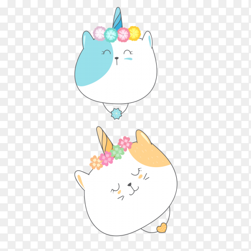 Cute baby cat with unicorn hand drawn PNG