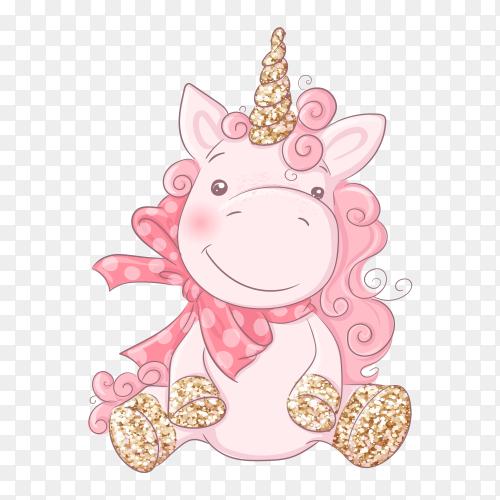 Cute cartoon unicorn transparent background Vector PNG