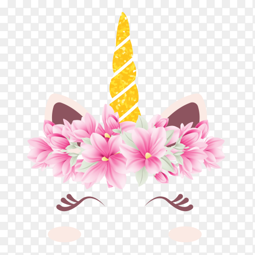 Cute floral unicorn PNG