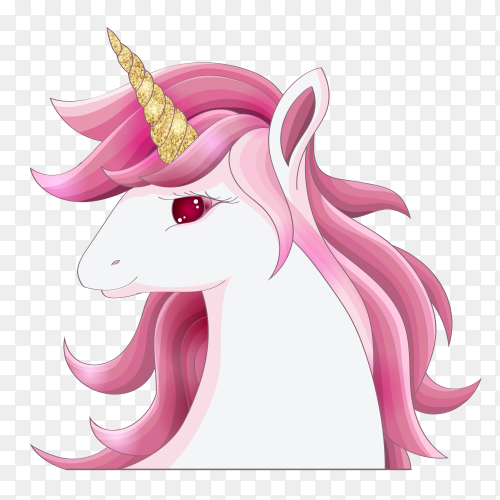 Cute pink unicorn with gold glitter horn Premium Vector PNG