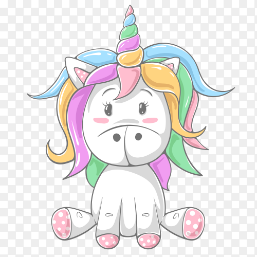 Cute teddy color unicorn PNG