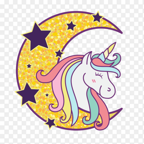 Cute unicorn cartoon character illustration design PNG