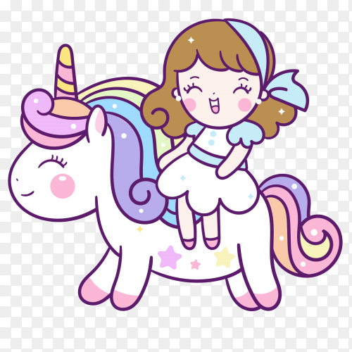 Hand drawn cute caticorn Vector PNG