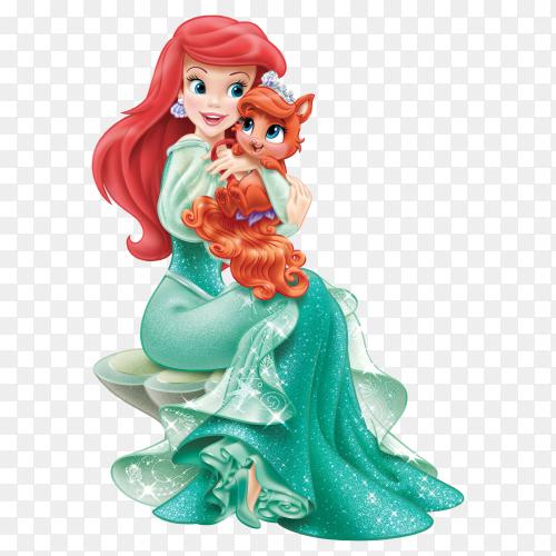 Disney Princess Ariel with Cute Kitten Transparent PNG