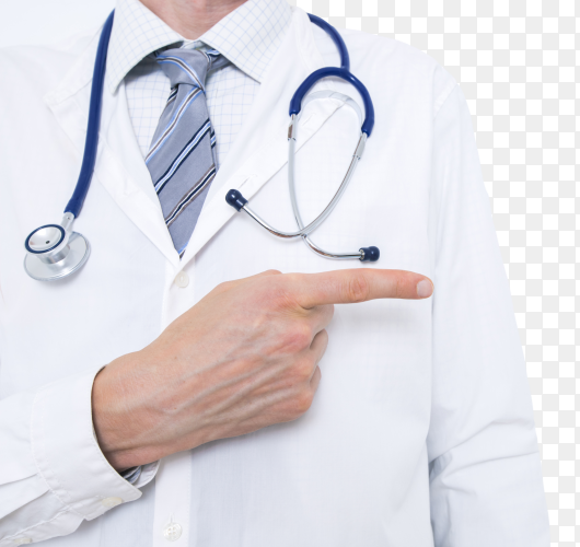 Doctor points in a white coat image PNG