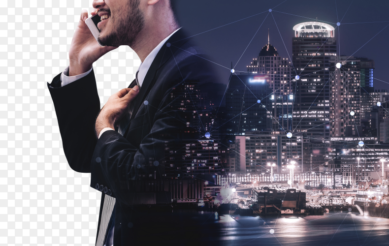 Double exposure image of business communication PNG