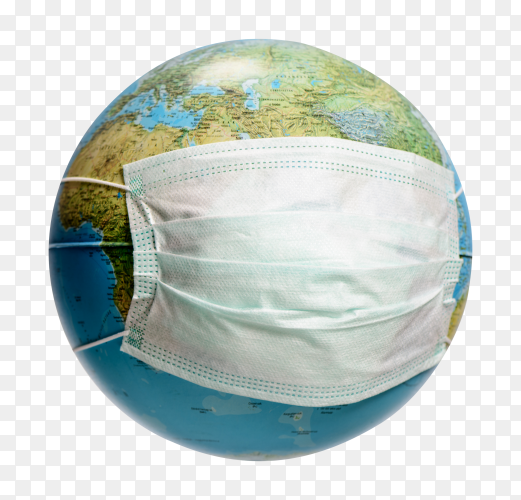 Earth globe with protective mask PNG