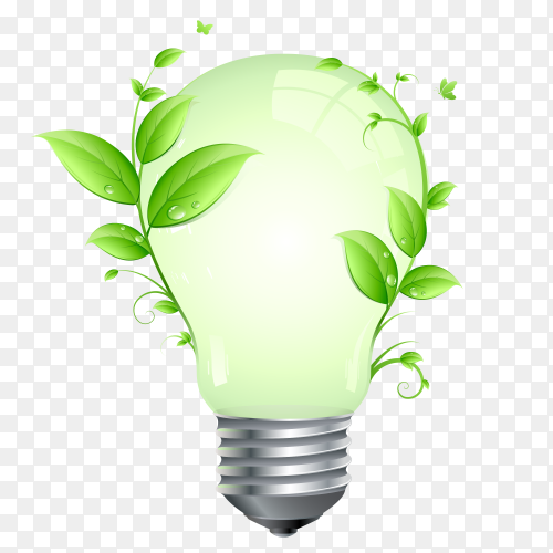 Ecology concept with light bulb vector PNG