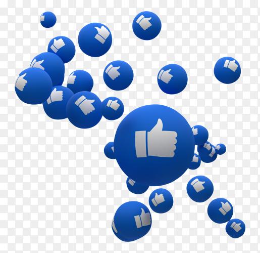 Facebook reactions emoji 3d render PNG