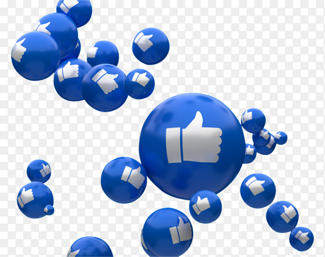Facebook reactions emoji 3d render with like thumbs up icons pattern PNG
