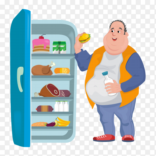 Fat man eats burger in an open refrigerator with many harmful foods vector PNG