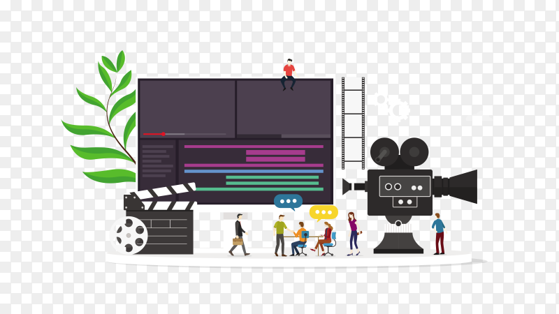 Film video production concept with flat style PNG