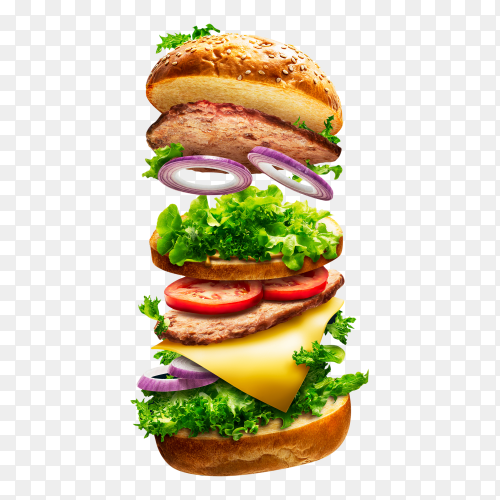 Floating burger transparent background PNG