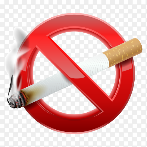 Forbidden no smoking red sign vector PNG