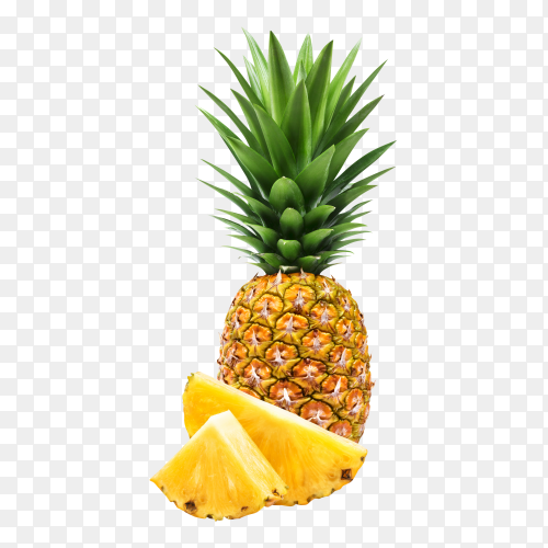 Fresh pineapple fruits with green leaves Premium image PNG