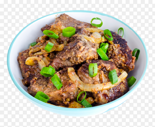 Fried liver with onions in bowl PNG