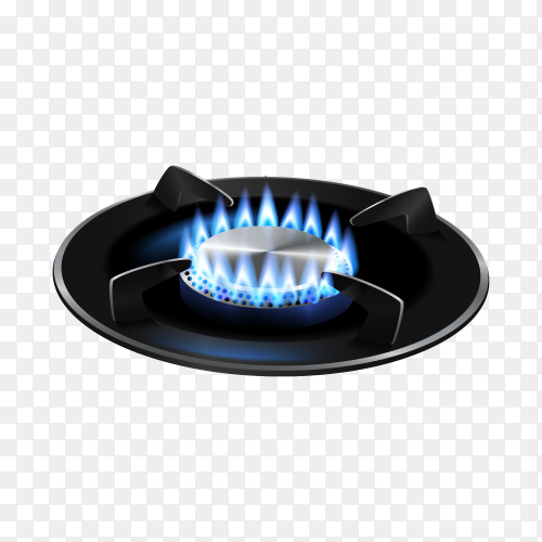 Gas burner with blue flame transparent PNG