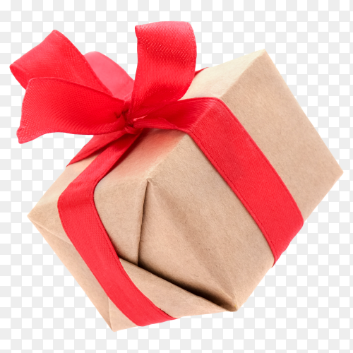 Gift box with red ribbon transparent PNG
