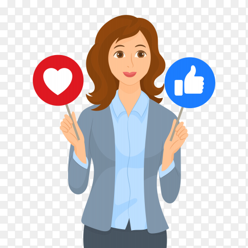 Girl with signs, thumbs up like and heart icon Vector PNG