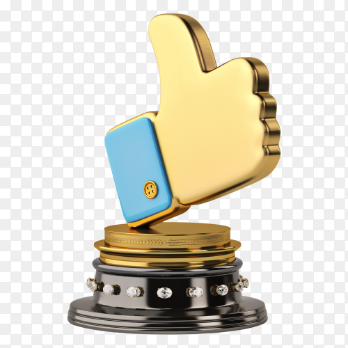 Gold like symbol Trophy on transparent background PNG