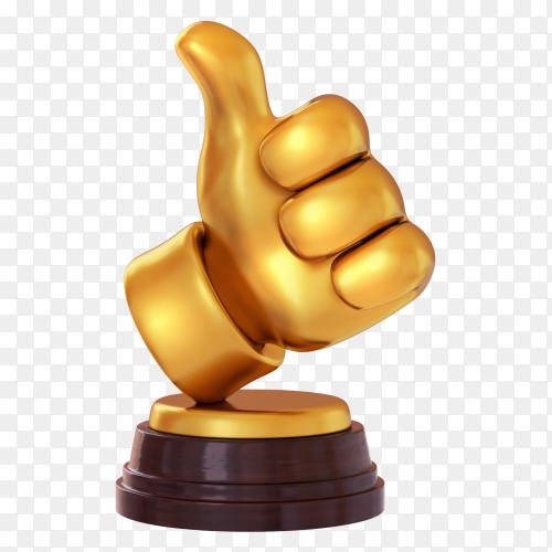Gold like symbol Trophy on transparent background PNG