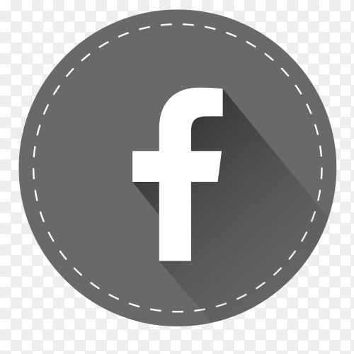 Gray Facebook logo with shadow PNG
