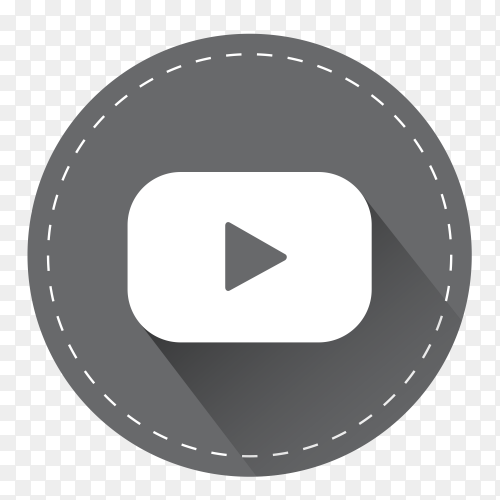 Gray YouTube logo with shadow PNG