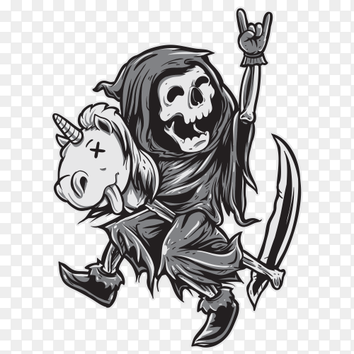 Grim Reaper Happy Riding Unicorn Toy PNG
