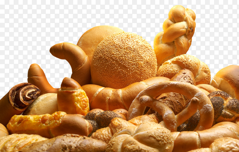 Group of different bread products PNG