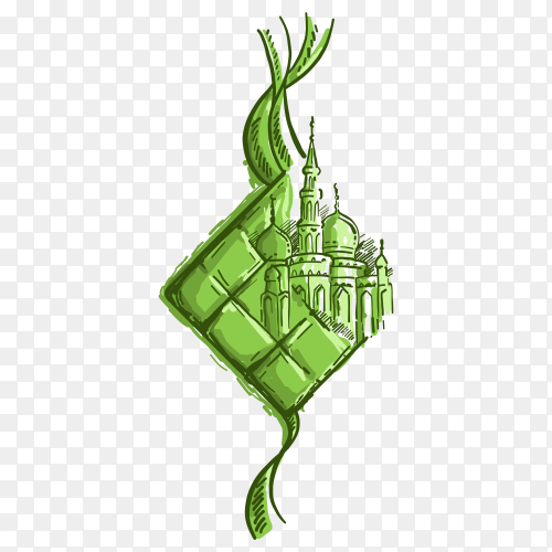 Hand drawn Illustration of Eid Mubarak Ketupat and mosque vector PNG