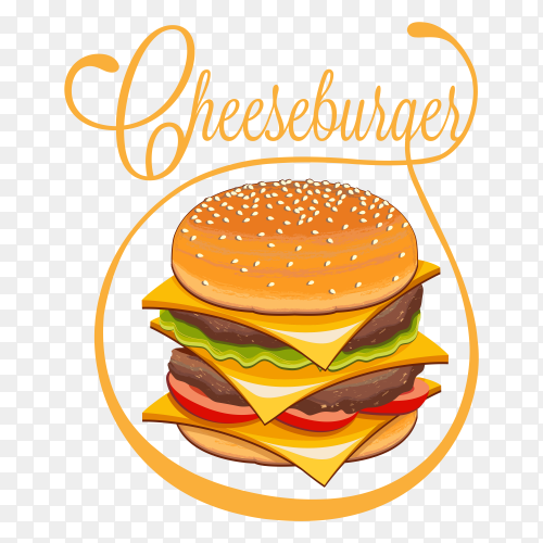 Hand drawn cheeseburger illustration vector PNG