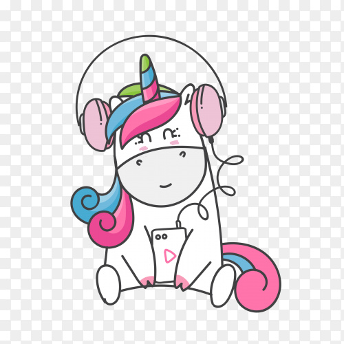 Hand drawn cute unicorn vector PNG