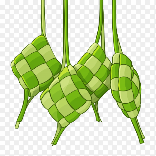 Hand drawn traditional ketupat composition Free Vector PNG