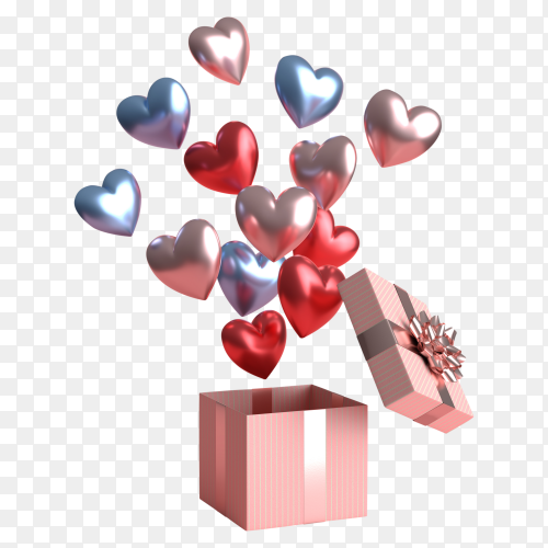 Happy valentines day concept with many heart shaped balloons PNG