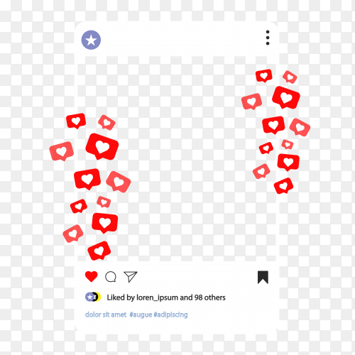 Instagram feed with Heart expression transparent Vector PNG