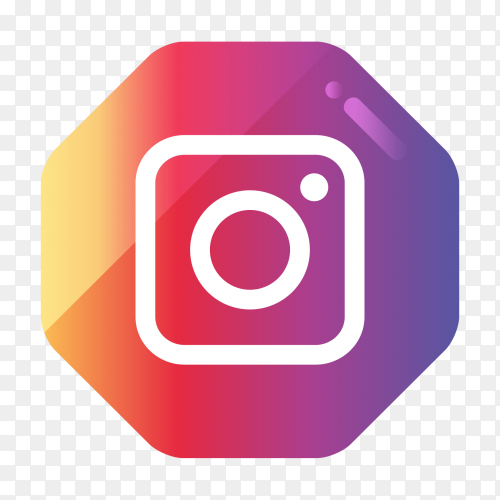 Instagram logo in gradient hexagonal PNG