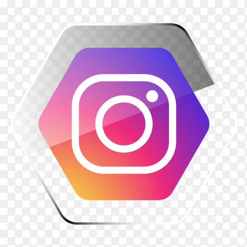 Instagram logo in hexagonal gradient PNG