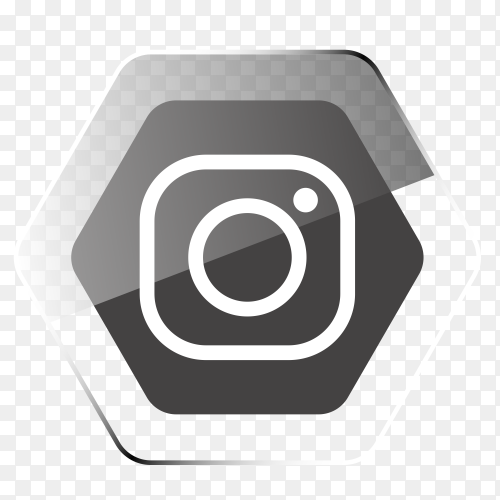 Instagram logo in hexagonal gray PNG
