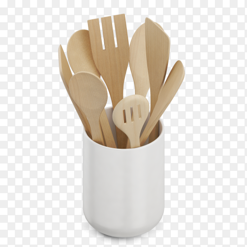 Isometric wooden kitchen spoons in cup PNG