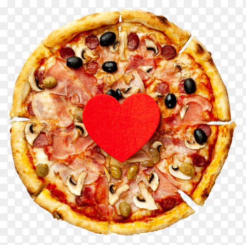 Italian pizza with bacon with red hearts for valentines day transparent background PNG