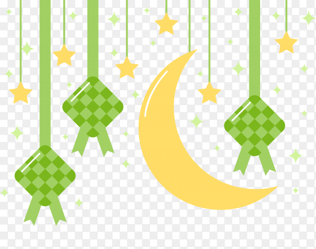 Ketupat With the crescent of Ramadan vector PNG