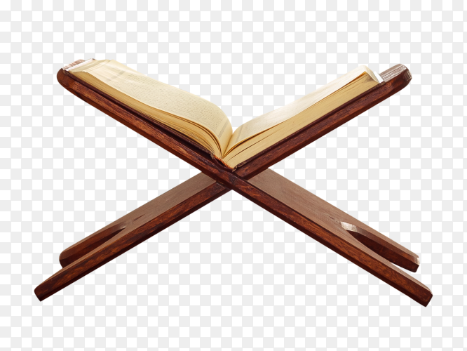 Koran – holy book of muslims on a wood stand transparent PNG