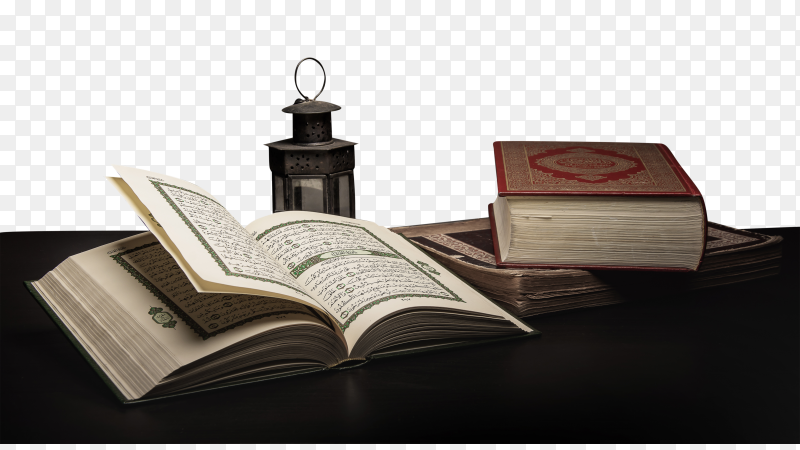 Koran – holy book of muslims on the table transparent PNG