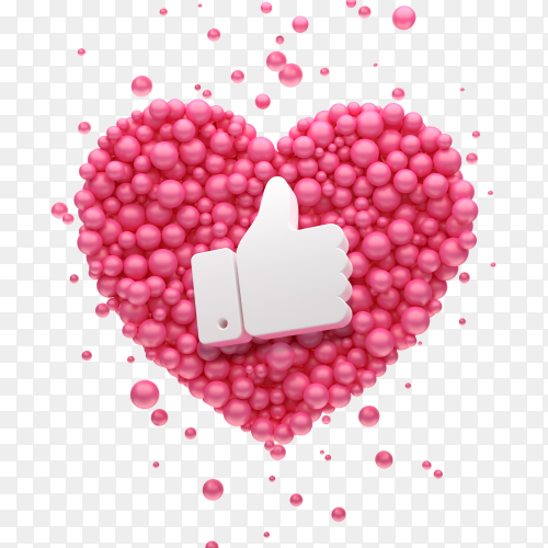 Like symbol on Pink heart balloons image free PNG