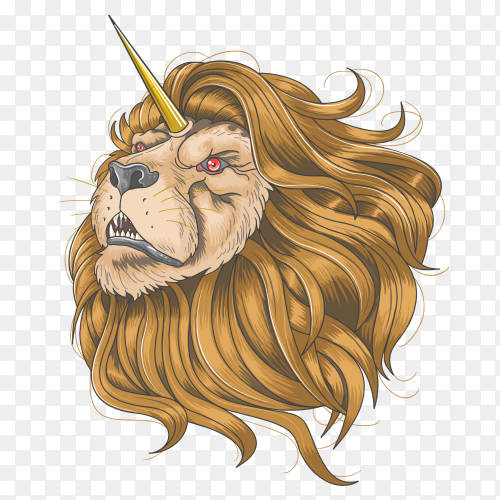 Lion horn unicorn gold hair PNG