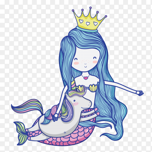 Little mermaid with unicorn art cartoon PNG